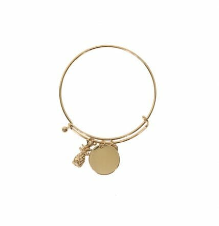 Gold Plated Pineapple and Disc Bracelet