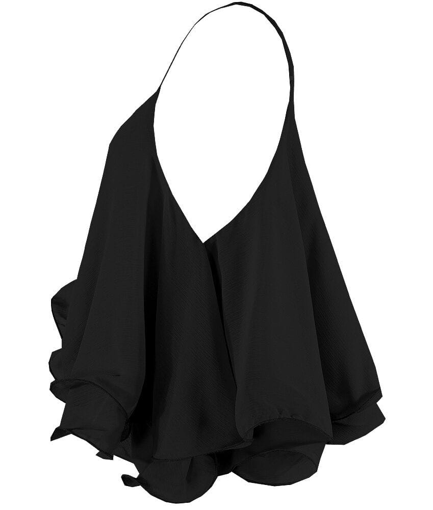 Black Chiffon Tiered Camisole Top Side View