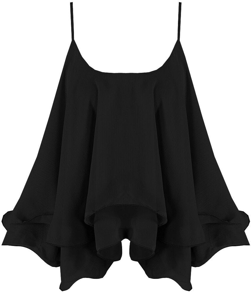 Black Chiffon Tiered Camisole Top