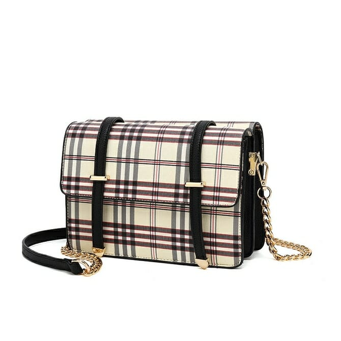 Black Check Print Crossbody Bag