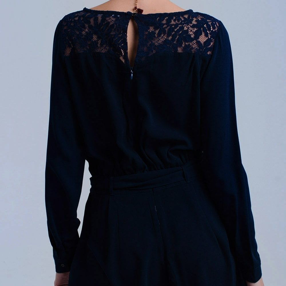 Navy Playsuit With Lace Back
