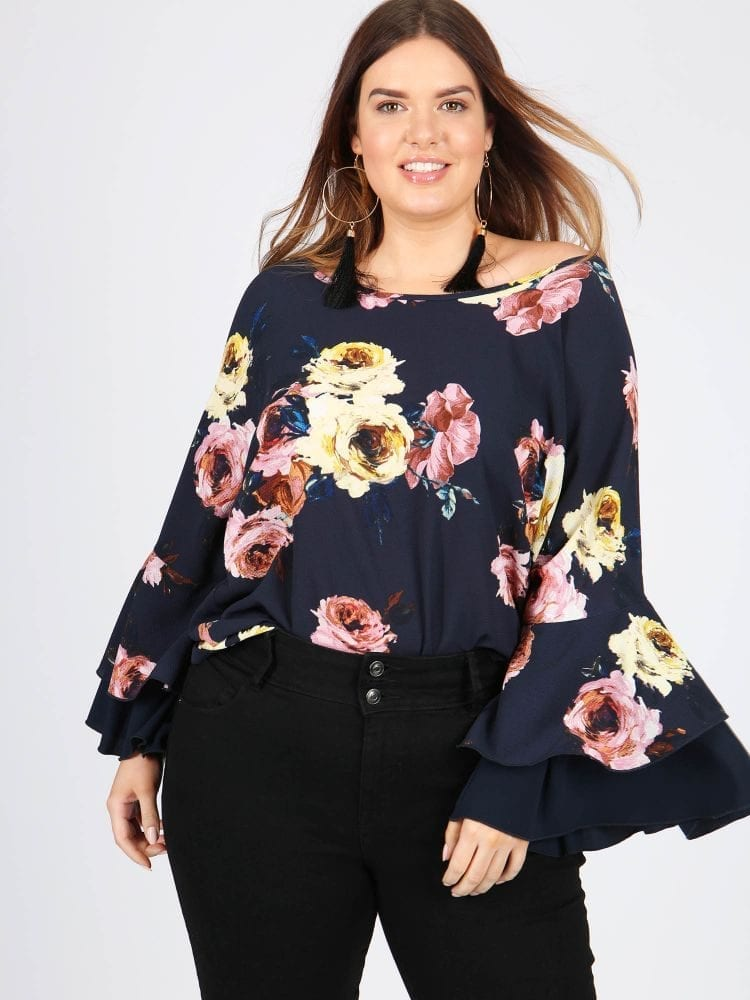 Plus Size Navy Floral Top With Frill Sleeve