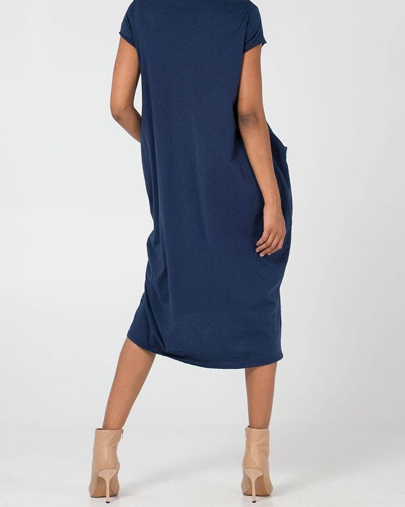 Navy Two Pocket T-Shirt Dress Rear