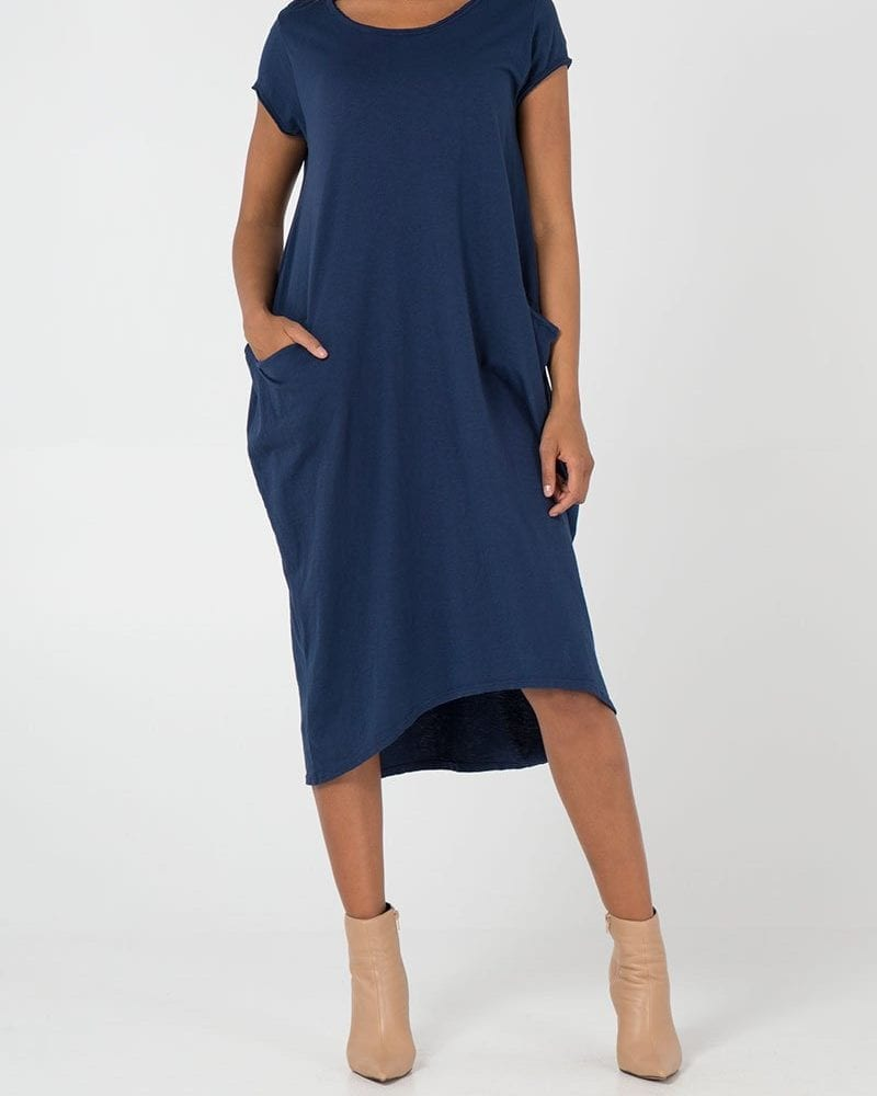 Navy Two Pocket T-Shirt Dress