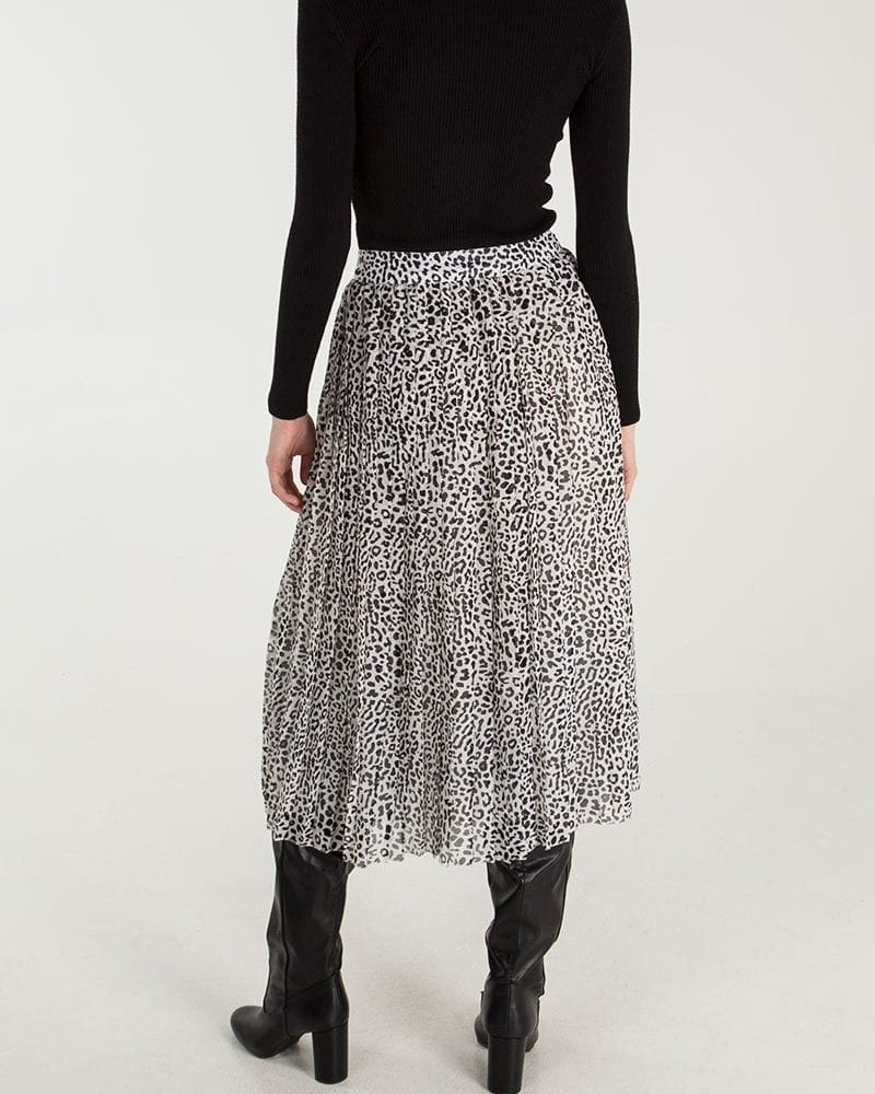 Animal Print Pleated Midi Skirt Rear