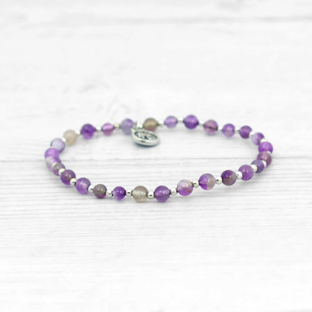 Amethyst Beaded Bracelet - Crown Chakra