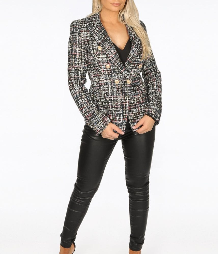 Tweed Double Breast Blazer with Gold Buttons