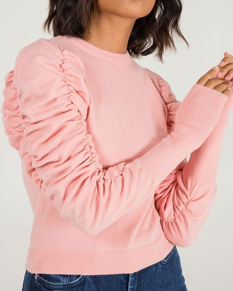 Pink Ruched Sleeve Jumper