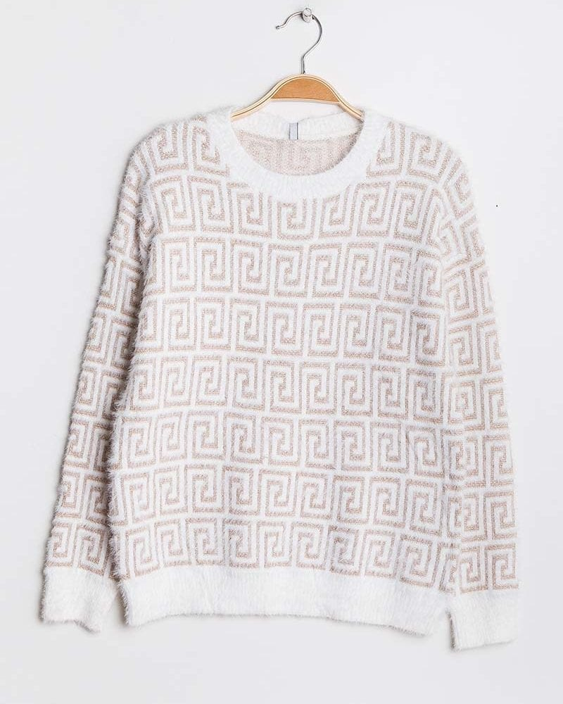 Cream and Gold Patterned Jumper