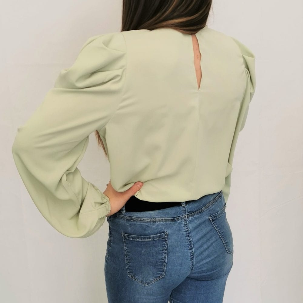 Mint Green Puff Sleeve Loose Fit Top