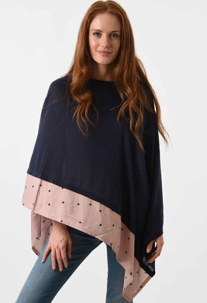 Navy and Pink Poncho