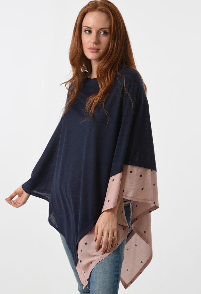Navy and Pink Poncho Side