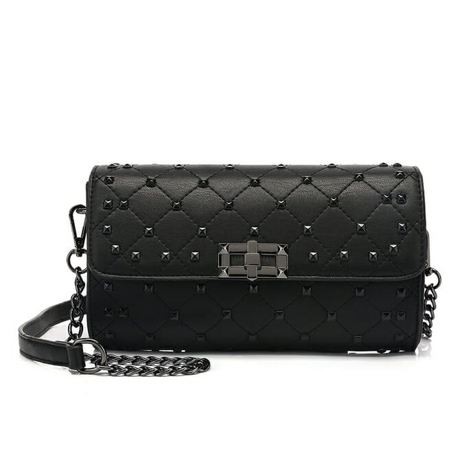 Black Quilted Studded Shoulder Bag