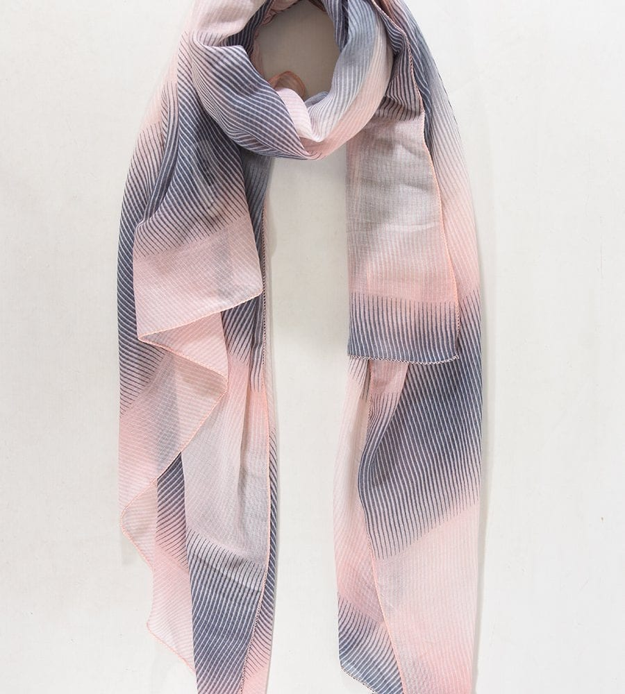 Blue and Pink Zig Zag Scarf