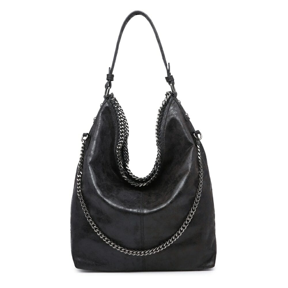 Black Metallic Slouch Bag