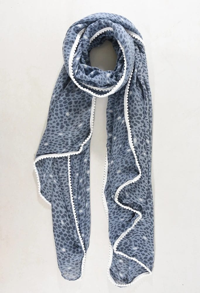 Denim-Blue-and-White-Spot-Print-Scarf