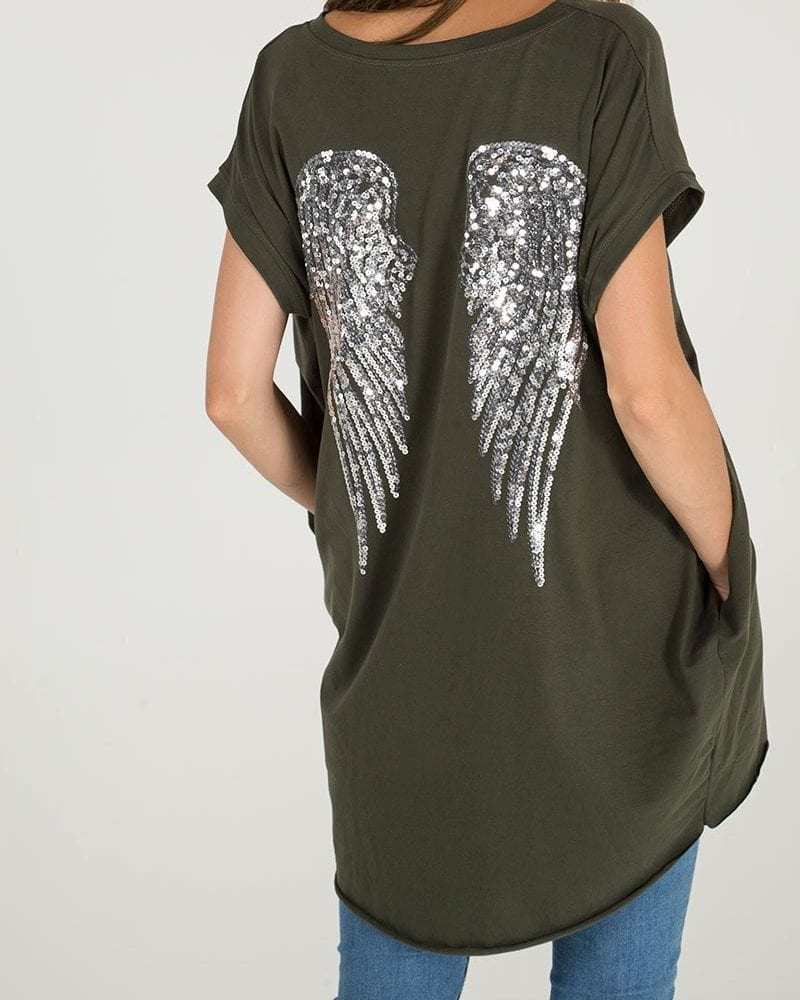 Khaki Angel Wing Tee