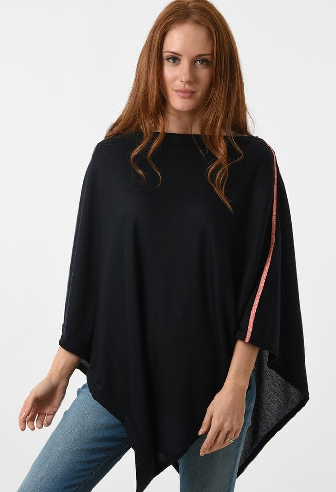 Navy Poncho with Neon Shoulder Trim
